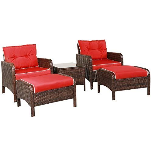 Cypressshop Rattan-Gartenmöbel-Set, gepolstert, Sofa-Set, Einzelsitze, Hocker, Teetisch mit rotem Kissen, Garten, Hinterhof, Deck, Wohnraum, Wohnmöbel