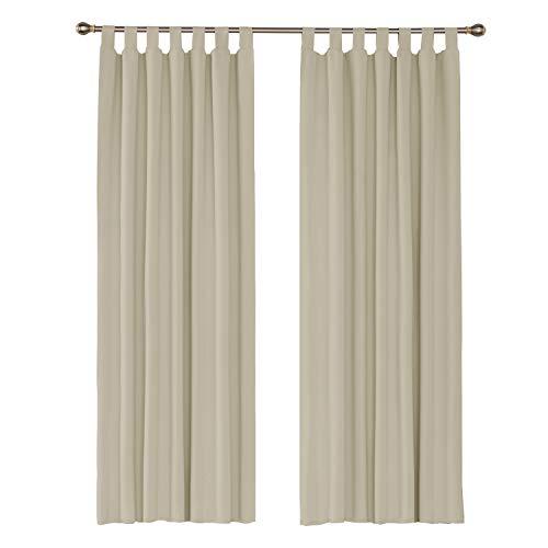 UMI. by Amazon 2 Schals Wärmeisolierende Gardinen Verdunkelungsvorhang mit Schlaufenaufhängung 140x245 cm Creme