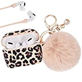 AirPods Pro Case AIRSPO Cute AirPods Pro Case Cover for AirPods Pro Floral Printed Silicone Protective Skin for Women, Girls with Pom Pom Fur Ball Keychain/Strap/Accessories (Leopard Print