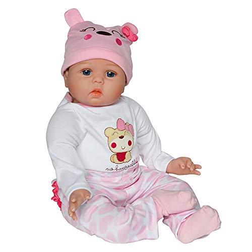 55 cm Handgefertigt Wiedergeborene Babypuppen Mädchen Lebensecht Weiches Silikon Vinyl Realistisch Gewichtetes Baby Kleinkind Geschenkset zum Alter 2+