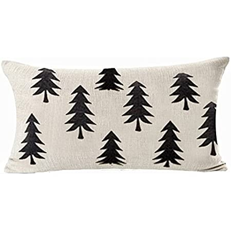 Amazon Com Qinu Keonu Pine Tree Forest White Geometry Cotton Linen Throw Pillow Case Cushion Cover Home Sofa Decorative 18 X 18 Inch Style G Home Kitchen