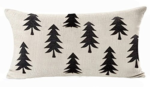 QINU KEONU Forest Tree Geometry Cotton Linen Lumbar Waist Pillow Case Cushion Cover Home Sofa Decorative (8)