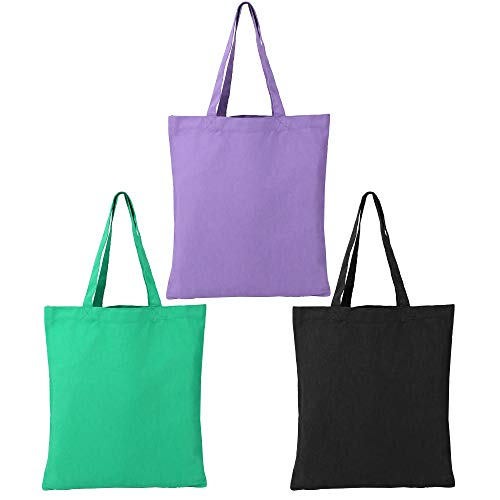 BeeGreen Packable Cotton Bags Set of 3 Foldable Sturdy 230g Canvas Shopping Totes for Grocery Large Reusable Cloth Fabric Bags for Women Men Crafts Personalized Durable Washable Black Purple Green