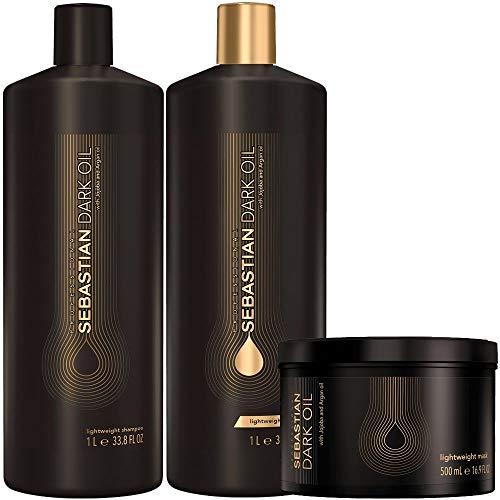 Kit Shampoo e Condicionador 2x1000ml + Máscara 500ml Sebastian Dark Oil