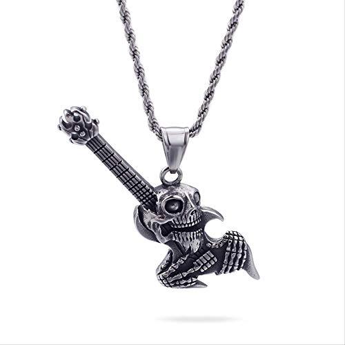 CBCJU Personalidad Europea y Americana Punk Goth Skull Guitarra eléctrica Hombres 'Titanio...