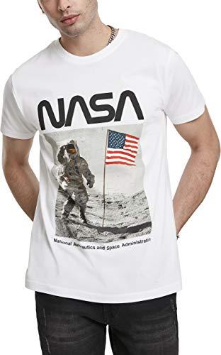 Mister Tee Herren NASA Moon Man T-Shirt, White, L