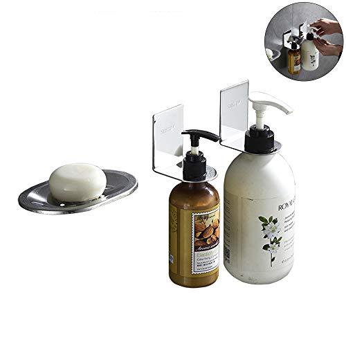 JLSYYCC 304 Edelstahl-Seifenkasten-Set, Shampoo-Ständer, Duschgel-Ständer, Seifenschutz, Wandseifenkasten,3
