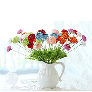 Mynse 7 Pieces Artificial Ranunculus Flowers Silk Lotus Flowers Mixed Color for Home Living Room Decoration