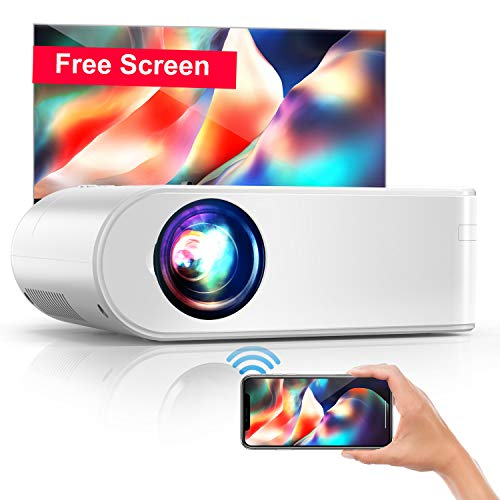 Proyector WiFi, YABER Mini Proyector Portátil 5500 Lúmenes Resolución Nativa 720P Cine en Casa, Duplicar Pantalla para Android/iPhone Smartphone iPad, Soporte Full HD 1080P,HDMI/USB/VGA/AV/SD (Blanco)