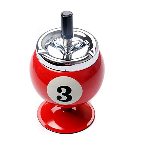 Neaer Cenicero con bolas de empuje para cigarrillos, cenicero de billar, cenicero sin base de metal para ahumar cenicero de metal para interior o exterior (color: rojo)