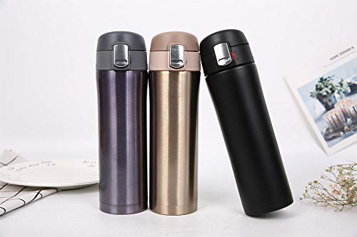 Sport Fles BPA Gratis Lekvrije Custom Afsluitbare Flip Top Deksel Fles Stofzuiger Dubbele RVS Outdoor Water Fles 500ml goud