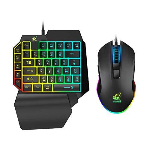 XTZJ Einhändig Mechanische Gaming-Tastatur und Gaming-Maus, RGB-Hintergrundbeleuchtung Tragbare Mini-Gaming-Tastatur mit Handgelenkstütze Black Switches, 100% Anti-Ghosting für Windows-PC-Laptop-Mac-S