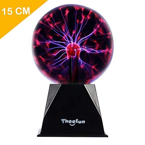 Theefun Magische Plasmakugel, 15cm Leucht Ball Elektrostatische Kugel Berührungsempfindliche Blitzkugel, Blinkende Pädagogisches Spielzeug Physik Blitzlicht Plasmalampe SphäreLichteffekte