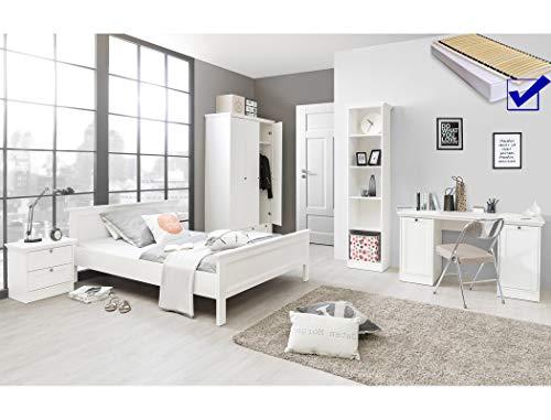 expendio Jugendzimmer Landström 174 weiß 7-teilig Bett komplett 140x200 Schreibtisch Bücherregal Schrank Nachttisch Rost Matratze