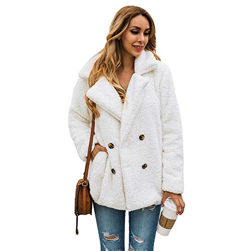 Kiss Me Damen Winterjacke, Fleece, mit Knopfleiste und Taschen, Oberbekleidung Gr. Large, gebrochenes weiß