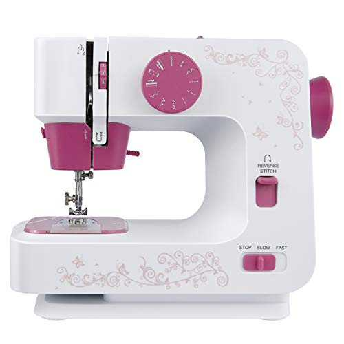 ISTOYO 1501S Portable Mini Sewing Machine for Beginners, 2-Speed 12 Built-in Stitch Patterns with Foot Pedal Switch for Multi-Purpose Crafting & Mending