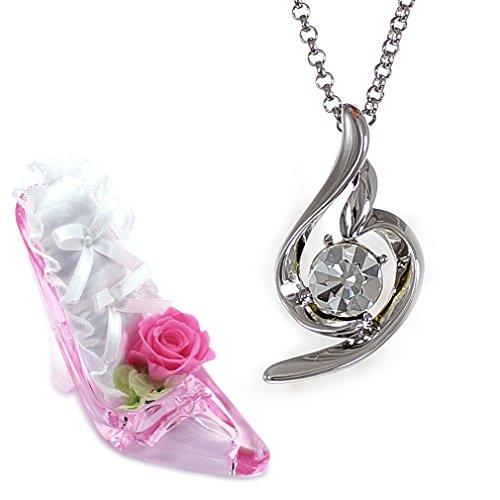 [デバリエ] 4月誕生日プレゼント 女性 人気 母 贈り物 ネックレス 誕生石 セット品(ヒール1組 アクセ1組)女性が喜ぶ ギフト クリア ブリザーブドフラワーy441-xh-cle