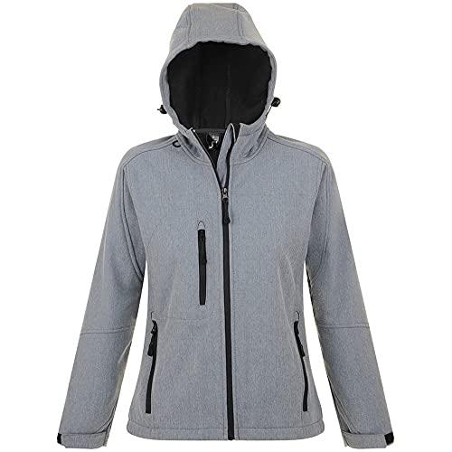Sols Damen Replay Softshell-Jacke mit Kapuze, atmungsaktiv, Winddicht, wasserabweisend (Medium) (Grau meliert)
