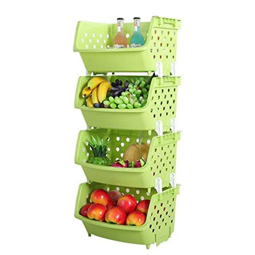 iVansa 4St. Obstkorb Obsthorde Küchenkorb Küchenregal Lagerung Stapelkorb Stapelbox Gemüsekiste Lagerregal Stapelkiste Ständer für Gemüse Obst Lebensmittel, ca. 35,8 x 31,2 x 22cm (Grün)
