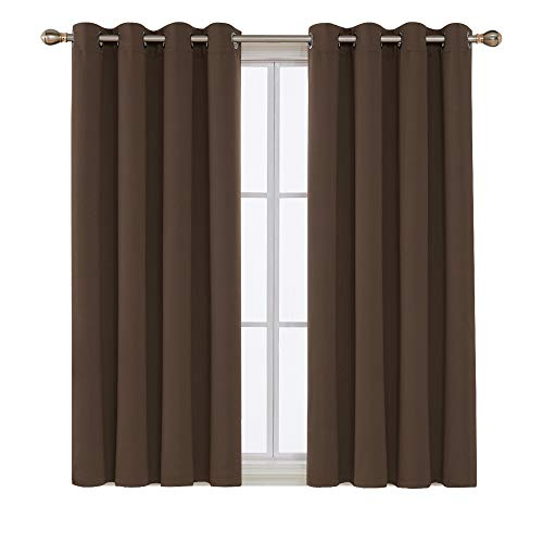 Deconovo Thermal Insulated Blackout Curtains Grommet Curtains Blackout Window Curtains for Dining Room 52W x 63L Inch Chocolate 2 Drapes