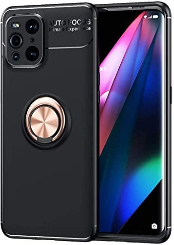 PIXFAB Funda para Oppo Find X3 Pro, antiarañazos, a prueba de golpes, de goma de gel [protector], anillo magnético [Kickstand] con [rotación 360] para Oppo Find X3 Pro - oro rosa