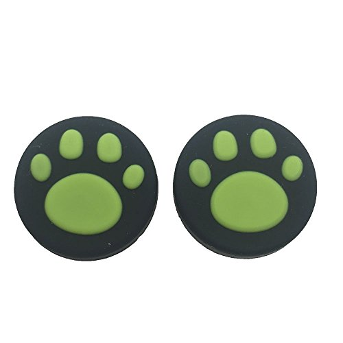 2 x Silicone Analog Controller Thumb Stick Joystick Grips Cap For Nintendo Switch NS Controller Joy-Con ThumbStick Cute Cat Paw Claw (Green)