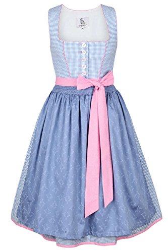 Bergweiss Damen Dirndl kurz Pastellfarben blau rosa, Blau, 38