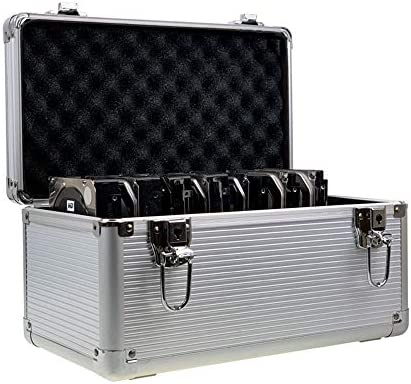 2 5 3 5 IDE SATA HDD Aluminum EVA Protection Suitcase Suitcase for 8 x 3 5 6 x 2 5 inch Hard product image