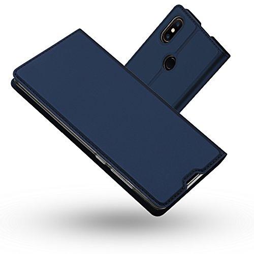 Radoo Xiaomi Mi Mix 2S Hülle, Premium PU Leder Handyhülle Brieftasche-Stil Magnetisch Folio Flip Klapphülle Etui Brieftasche Hülle Schutzhülle Tasche Hülle Cover für Xiaomi Mi Mix 2S (Blau)