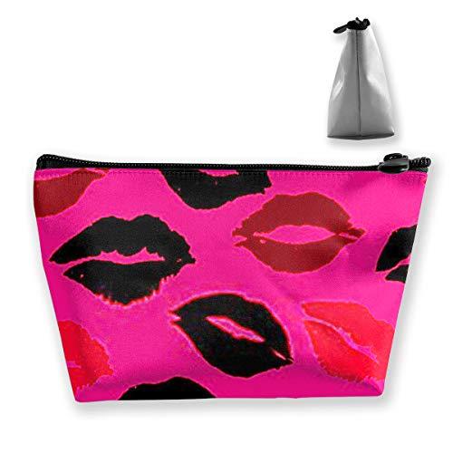 Trousse de maquillage étanche et portable Motif lèvres et lèvres Noir/rouge