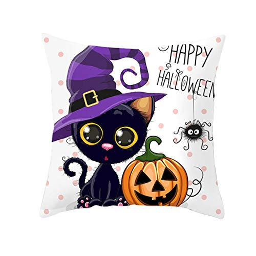 Fodera Per Cuscino Serie Aiserkly Halloween Owl 45Cmx45Cm Fodera Per Cuscino Da Divano Nordic (F,45x45cm)