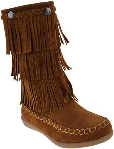 JELLY BEANS Hobo Little Girls Side Zipper 3 Layer Fringe Moccasin Boots Tan 11