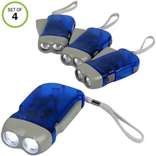 Evelots Hand Crank Flashlight-Camping-Home-Car-No Battery-LED Bright Light-Set/4