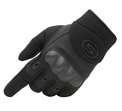 Seibertron Men's Hard Knuckle Military Leather Palm Carbon Fiber Glove