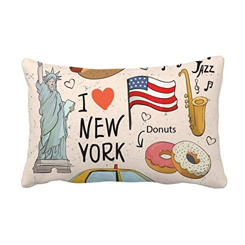 "puissant DIYthinker J'aime New York, Hot Dog Donuts America Texi Coussin Lombaire Coussin Insert Couverture Home Sofa Decor Cadeau 16 ""x 24"" Multicolore"