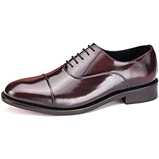 Formal Mens Shoe Handmade Leather Soled Oxford Lace-up, Goodyear Welted in Black, Brown, Tan, Oxblood & Suede (Oxblood, 8.5)
