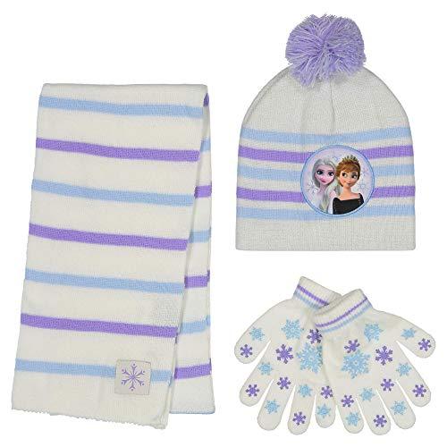 Disney Conjunto de gorro de invierno para niñas Frozen 2, Elsa y Anna para niños, Juego de guantes blancos - Edad 4-7, Glove Set -...