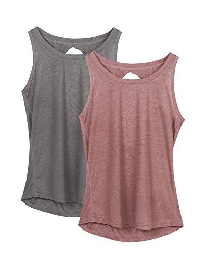 icyzone Damen Yoga Sport Tank Top Rückenfrei Fitness Oberteil ärmellos Shirts, 2er Pack (L, Grau/Mokka)