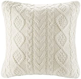 DOKOT 100% Cotton Knitted Decorative Cable Braid and Diamond Knitting Square Warm Throw Pillow Cover/Cushion Cover (Cream,...