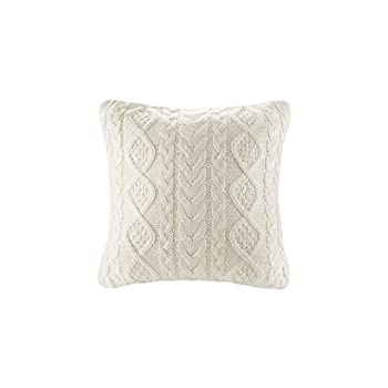 Knit Decorative Throw Pillow Cover Sweater Square Warm Cushion Cover for Couch Bed Home Accent Decor  Cream  18x18 inches 45x45cm