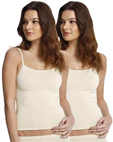 2er Pack Damen Mikrofaser Spaghetti Unterhemden, Seamless Trägertop in schwarz, weiss oder haut , Gr. Medium