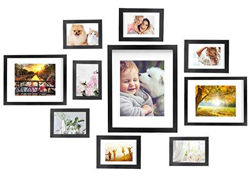 Vsadey Bilderrahmen 10er Set mit Aufsteller & Passepartout, Schwarz Modern Fotorahmen Verschiedene Größen, 1 STK. 28 x 35 cm, 2 STK. 20 x 25 cm, 3 STK. 13 x 18 cm, 4 STK. 10 x 15 cm
