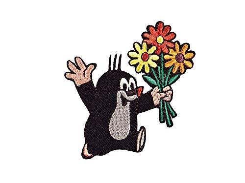 by gedeacc-kreativ Bügelbild Aufnäher Patch Applikation zum Aufbügeln Der kleine Maulwurf mit Blumen 7,0 cm x 7,0 cm