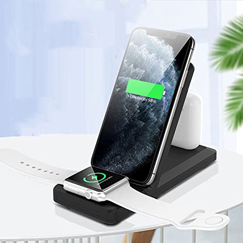 Lazzzgua Wireless Charging Stand, 3 in 1 Fast Wireless Charger 15W Qi Charging Station Dock Compatible with Air Pods/i Watch /SE6 5 4 3 2 iPhone 12/11 Pro/MAX/XS/X