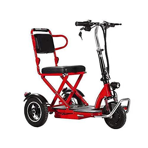 EWYI Scooter De Movilidad Plegable De 3 Ruedas Coche Eléctrico para Discapacitados con 3 Cambios De Marcha, Triciclo Eléctrico Ligero para Adultos Mayores Discapacitados 10AH/35KM