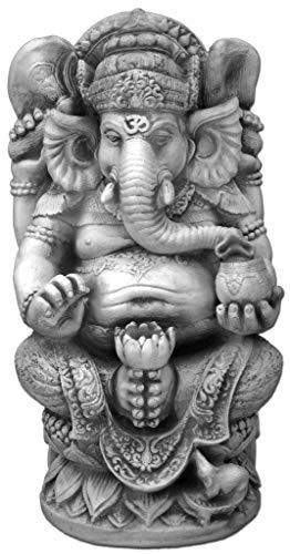 gartendekoparadies.de Massive große Ganesha - der Göttliche Statue Hinduismus Gott aus Steinguss frostfest (Grau)