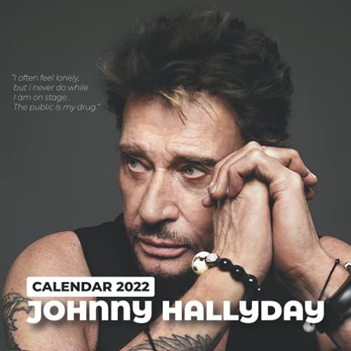 2022 Calendar: Johnny Hallyday Calendar 2022 18-month from Jul 2021 to Dec 2022 in mini size 7x7 inch