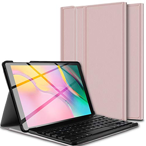 ELTD Tastatur Hülle für Samsung Galaxy Tab A T510/T515 (Deutsches QWERTZ-Layout), Ständer Hülle mit magnetisch Abnehmbarer Kabellose Tastatur für Samsung Galaxy Tab A T510/T515 10.1 Zoll (Roségold)