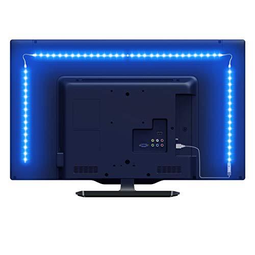 LE 2M LED Tira de Luz TV, Tira de luz USB con Control Remoto RF, 5050 RGB, Cambio de Color, Iluminación Regulable de Polarización para Monitor de PC de TV de 32-65 Pulgadas (4 x 50 cm Tira de LED)