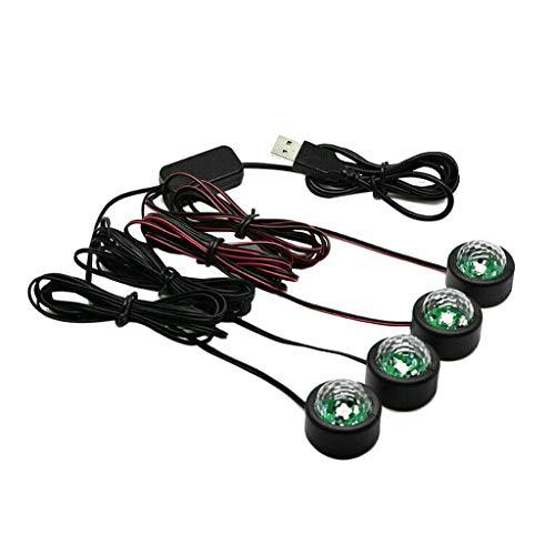 TISHITA Tira de luces LED para coche, 4 unidades de luces de atmósfera Interior Multicolor para coche TV hogar con función de sonido, puerto USB inteligente